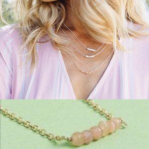 Kris Nations Pink Mystic Bar 18 K Gold Necklace